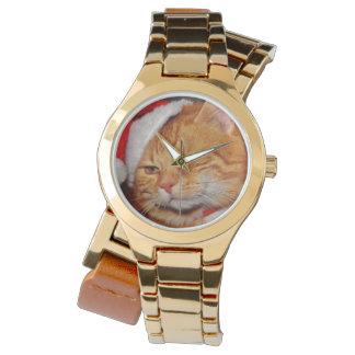 Relógio De Pulso Gato alaranjado - gato de Papai Noel - Feliz Natal