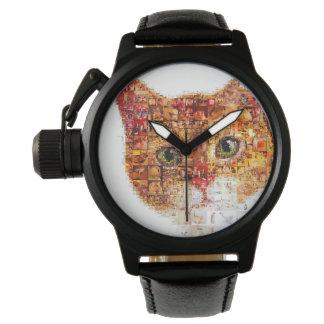 Relógio De Pulso Gato - colagem do gato