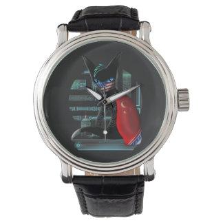 Relógio De Pulso Gato de Ninja do Cyberpunk