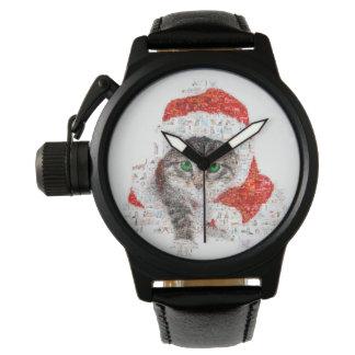 Relógio De Pulso gato de Papai Noel - colagem do gato - gatinho -