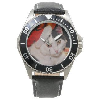 Relógio De Pulso Gato de Papai Noel - Feliz Natal - gato do animal