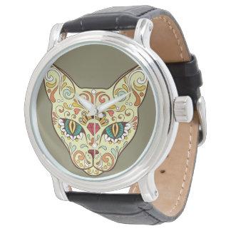 Relógio De Pulso Gato do crânio do açúcar - design do tatuagem