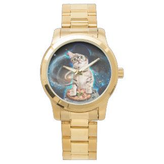 Relógio De Pulso gato do DJ - gato do espaço - pizza do gato -
