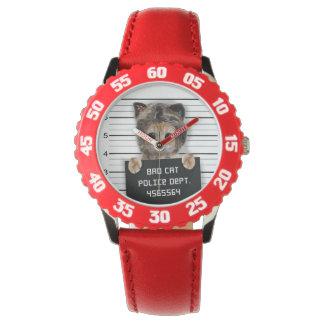 Relógio De Pulso gato do mugshot - gato louco - gatinho - felino