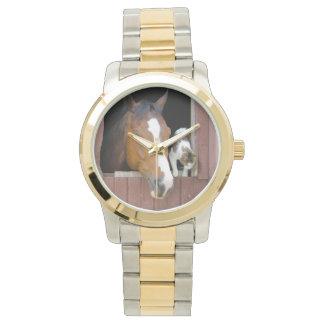Relógio De Pulso Gato e cavalo - rancho do cavalo - amantes do