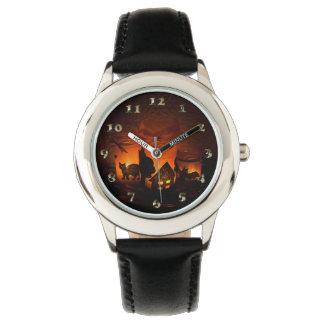 Relógio De Pulso Gato preto do Dia das Bruxas com luminares e