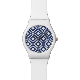 Relógio De Pulso Geométrico azul e branco tribal