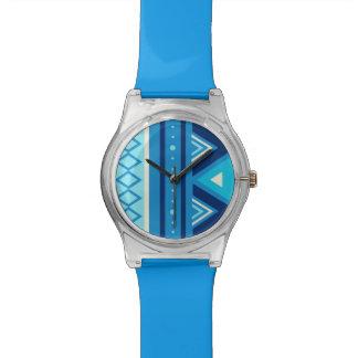 Relógio De Pulso Geométrico do sudoeste moderno, azul & turquesa