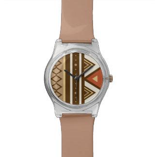 Relógio De Pulso Geométrico do sudoeste moderno, Brown, Tan &