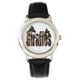 Relógio De Pulso Girafas com logotipo do teste padrão do girafa,