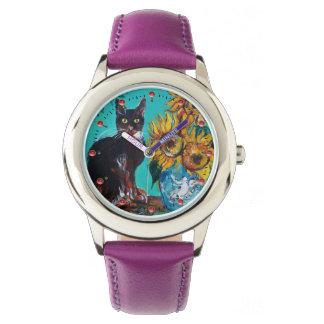 Relógio De Pulso GIRASSÓIS COM CAT PRETO, amarelo, azul de turquesa