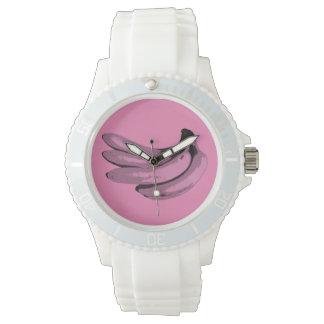 Relógio De Pulso Gráfico cor-de-rosa da banana do pop art