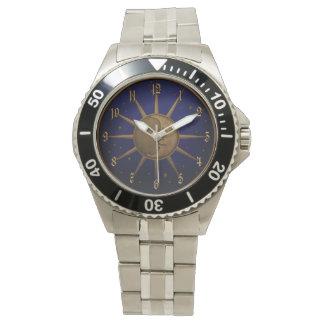 Relógio De Pulso Gráfico de bronze do alivio de Bas da lua