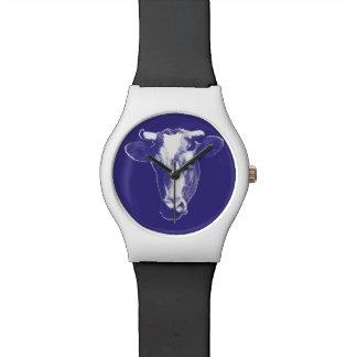 Relógio De Pulso Gráfico roxo da vaca do pop art