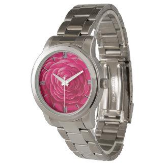 Relógio De Pulso Grande flor da camélia, rosa do fúcsia