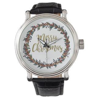 Relógio De Pulso Grinalda da aguarela - Feliz Natal - ramos