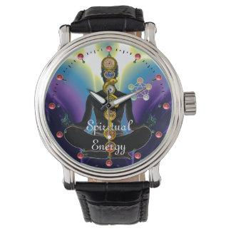 Relógio De Pulso HASTE de ASCLEPIUS 7 CHAKRAS, roxo da POSE de