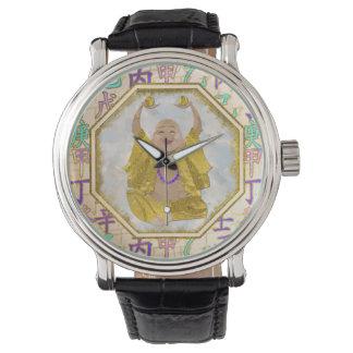 Relógio De Pulso Hieroglyphs felizes afortunados do shui de Buddha
