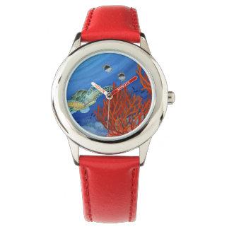 Relógio De Pulso Honu (tartaruga de mar verde) e coral preto