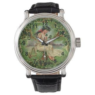 Relógio De Pulso Ilustração do vintage da menina pequena doce do