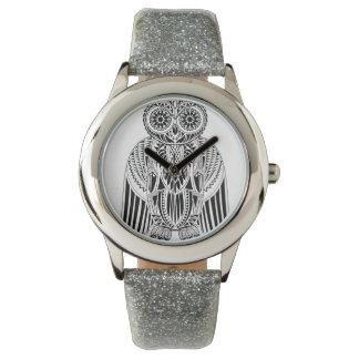 Relógio De Pulso Ilustração modelada da coruja estilo tribal legal