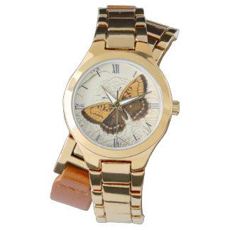 Relógio De Pulso Ilustração, ouro e Brown da borboleta do vintage