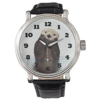 Relógio De Pulso Imagem bonito dos animais selvagens da lontra