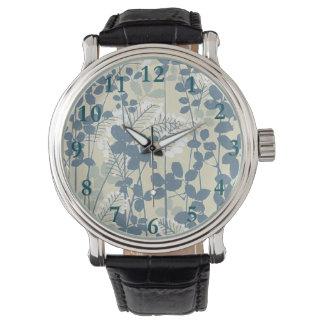 Relógio De Pulso Impressão azul floral das flores da arte asiática