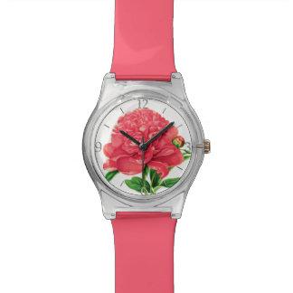 Relógio De Pulso Impressão botânico do vintage, peônia cor-de-rosa
