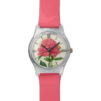 Relogio De Pulso Impressão botânico do vintage, peônia cor-de-rosa