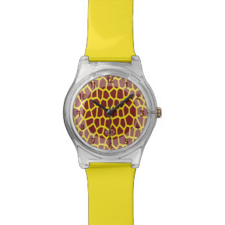 Relógio De Pulso Impressão do girafa de Brown da cor da picareta de