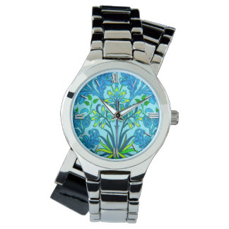 Relógio De Pulso Impressão do jacinto de William Morris, azul