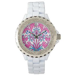 Relógio De Pulso Impressão do jacinto de William Morris, rosa do