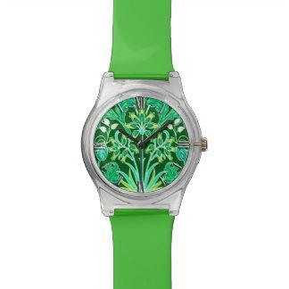 Relógio De Pulso Impressão do jacinto de William Morris, verde