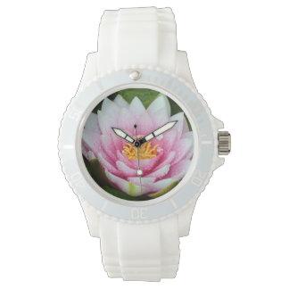 Relógio De Pulso Impressão floral cor-de-rosa de lírio de água