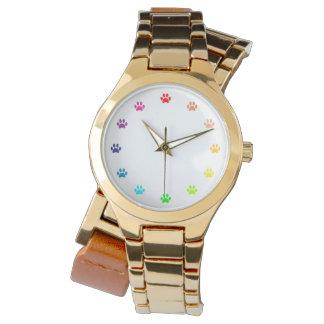 Relógio De Pulso Impressões pintados arco-íris da pata como números