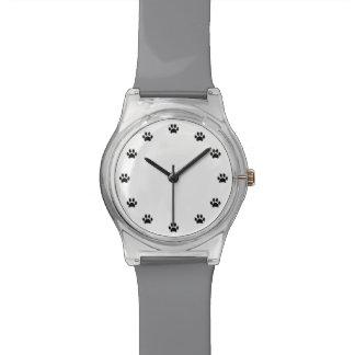 Relógio De Pulso Impressões pretos da pata como números