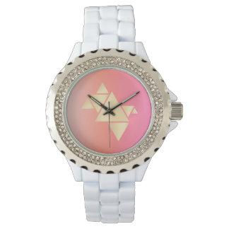 Relógio De Pulso Inclinação alaranjado cor-de-rosa geométrico do