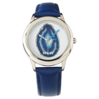 Relógio De Pulso Iniciais azuis da ágata