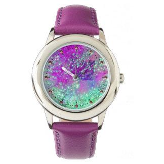 Relógio De Pulso JARDIM do azul roxo do Aqua do rosa PERDIDO das