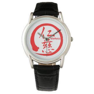 Relógio De Pulso Kanji japonês vermelho do círculo   do enso para a