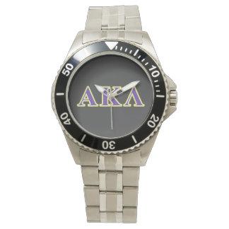 Relógio De Pulso Kappa alfa letras brancas e roxas do Lambda