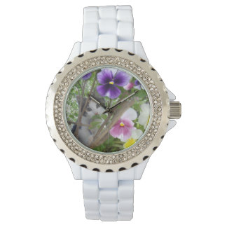 Relógio De Pulso Kitten_And_Pansies_White_Sparkle_Watch.