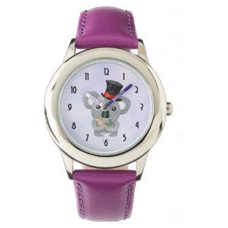 Relógio De Pulso Koala bonito em um chapéu alto preto