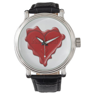 Relógio De Pulso Kristen. Selo vermelho da cera do coração com