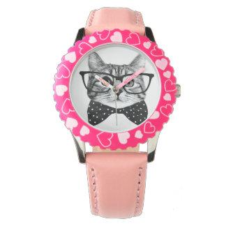 Relógio De Pulso laço do gato - gato dos vidros - gato de vidro