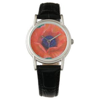 Relógio De Pulso Laranja vermelha oriental da PAPOILA ---