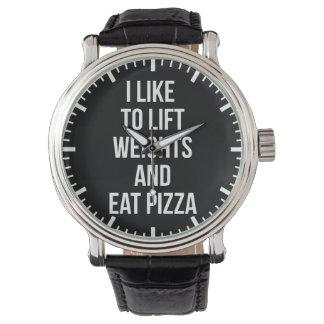 Relógio De Pulso Levante pesos e coma a pizza - carburadores -
