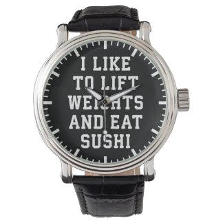 Relógio De Pulso Levante pesos e coma o sushi - novidade engraçada