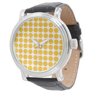 Relógio De Pulso Limão do teste padrão de Polkadot do círculo das